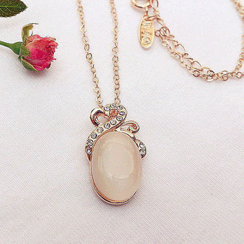 Oval Opal Beaded Rhinestone Pendant Necklace, Light Pink Dome Stone Dainty Necklace, Bridesmaid-Wedding-Jewelry-Gift