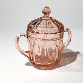 Hocking Glass Colonial Knife and Fork Pink Depression Glass Sugar Bowl, Hocking Glass Colonial Knife & Fork Pink