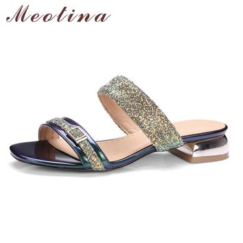 Meotina Women Sandals Summer 2017 Women Slides Glitter Low Heel Slippers Causal Beach Shoes Ladies Sandals Gold Large Size 9 10