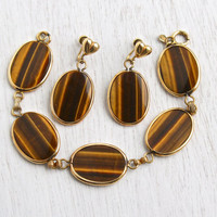 Vintage Tiger's Eye Bracelet & Earring Set - 12K Yellow Gold Filled Signed Amco Semi Precious Stone Statement Jewelry / Oval Browns