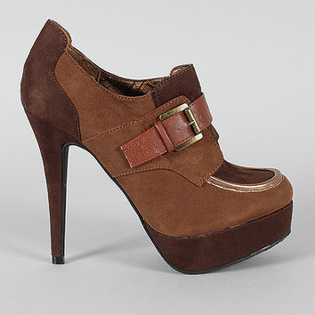 Dollhouse Fling Buckle Round Toe Platform Bootie