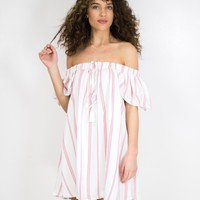 Candy Stripe Off Shoulder Dress