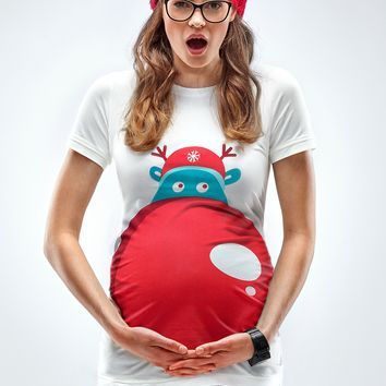 """Rudolph's Nose"" - Maternity Christmas T-shirt"