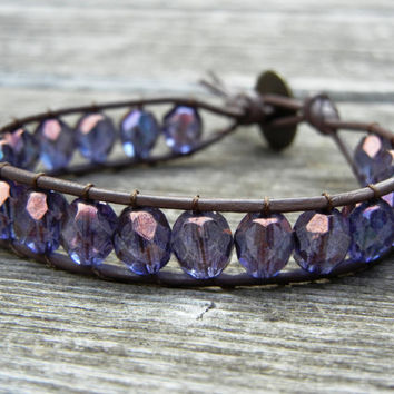 Beaded Leather Single Wrap Stackable Bracelet with Purple Czech Glass Beads on Black or Brown Leather