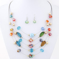 Bohemian Crystal Layer Collar Necklace and Earrings