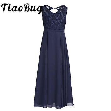 TiaoBug 2017 New Big Kids Girls Bridesmaid Lace Girl Dresses Princess Party Formal Pageant Sleeveless Ball Gown Summer Dress