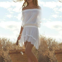 White Chiffon Asymmetrical Hem Mini Dress