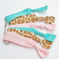 6 Elastic Hair Ties,  Tiny Ties Made Special for Girls - The Pink Giraffe Set