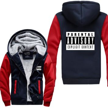 New Explicit Content Parental Advisory sweatshirt  Men long Sleeve 2017 autumn winter Hip Hop Man hooded male brand thick jacket