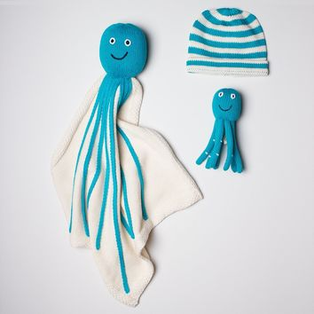 Organic Baby Gift Sets - Newborn Lovey Blanket, Rattle Toy & Hat | Octopus