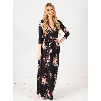 3/4 Sleeve Wrap Maxi Dress
