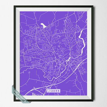 Lisburn Map, Northern Ireland Poster, Lisburn Poster, Lisburn Print, Northern Ireland Print, Ireland Map, Street Map, Wall Art