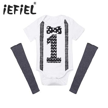 iEFiEL Newborn Toddler Kids Infant Baby Boys Outfit Short Sleeves Printed Number ONE First Birthday Romper with Leg Warmers Set