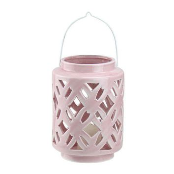 MDIGMS9 7' City Chic Pastel Pink Floral Cut-Out Porcelain Tea Light Candle Holder