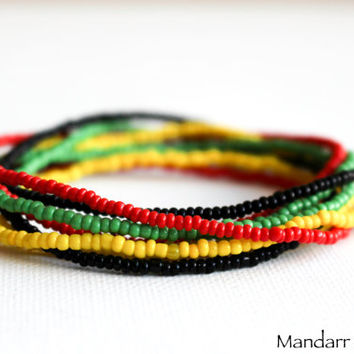 Rasta Bracelet Set, Seed Bead Stretch Bracelets, Set of Eight, Red Yellow Green Black, Stretch Jewelry, Gift for Her
