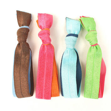 Double Knotted Hair Ties (4) Choose Your Colors - Cute Teen Girls Gift idea - Double Ponytail Holders - School Colors - Great for Thick Hair
