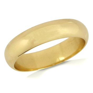 Men's 5.35 mm Wide 14k SOLID Yellow Gold Wedding Band
