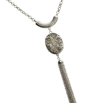 * RHODIUM PENDANT CHAIN NECKLACE
