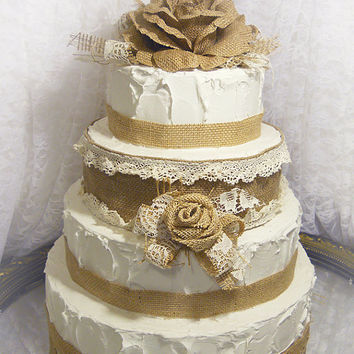 Rustic Burlap & Lace Cake Topper with matching pick and burlap for tiers. Ready to Ship!
