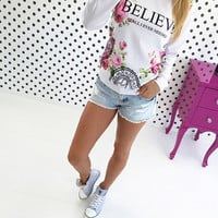 Letter Floral Print Long Sleeve Shirt