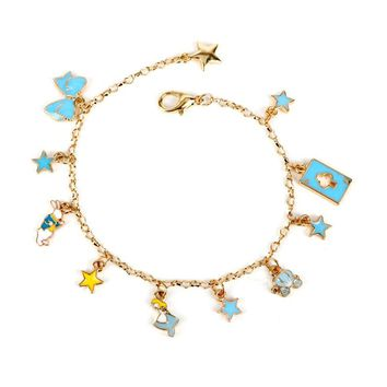 Miage Cute Alice In Wonderland Cartoon Girl Poker Rabbit Bow Tie Star Metal Chain Braclet Women Charm Jewelry Accessories