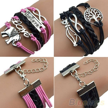 Men's Women's Fashion Elephant Cat Charm Hand Chain Leather Cuff Bracelet Cute Jewelry
