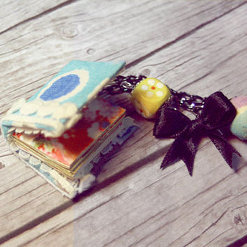 Le petite book Necklace  Turquoise Fabric and by Lynnlen on Etsy