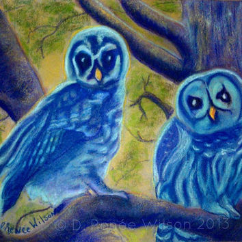 Athena's Owlets, Signed & Numbered Owl Art Print