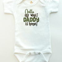 Baby Boys or Girls Bodysuit - Daddy's Home - Military - Army - Navy - Marines - Air Force - Oilfield - Pipeline - Deployed - Stay at Home