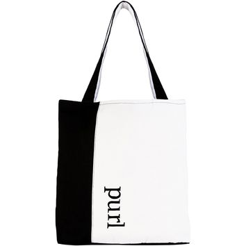 Black/White Knit Happy Tote Bag