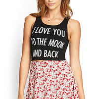 FOREVER 21 Eternal Love Crop Top Black/Taupe Large