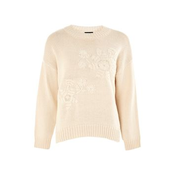 TOPSHOP Women's Tonal Embroidered Sweater