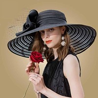 Elegant Black Kentucky Derby Hat Wide Large Bowknot Hat