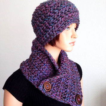 Ready to Ship. Crochet Hat & Neckwarmer Set