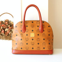 MCM bag Visetos Monogram Cognac Vintage Tote Handbag Germany