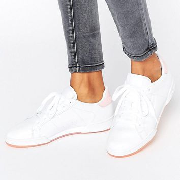 Pink   Reebok Npc Ii Trainers With Pink Heel And Sole Detail at ASOS