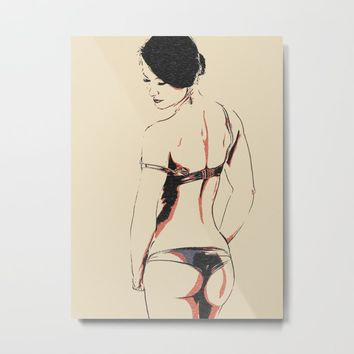 Seducing girl, beautiful brunette in lingerie, sensual pose, perfect body Metal Print by hmdesignspl