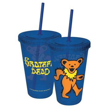 DCCKU3R Grateful Dead - Dancing Bear Acrylic Tumbler With Straw