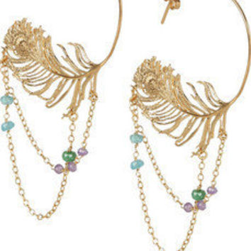 Alex Monroe | 22-karat gold-plated peacock-feather hoop earrings | NET-A-PORTER.COM