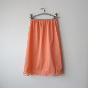 50s Scalloped Hem Coral Half Slip by Vanity Fair -- Romantic Pin-Up VLV Bombshell Lingerie!