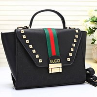 Gucci Women Leather Shoulder Bag Satchel Tote Handbag Crossbody