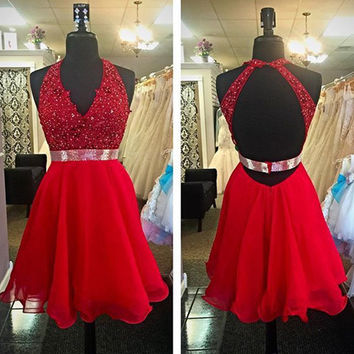 Red Open Back Lace Beading Homecoming Dress