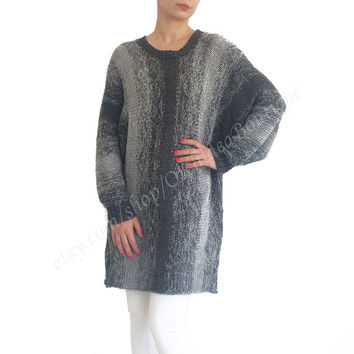 INES sweater dress oversized loose hand knitted gray ombre spring knitwear chunky slouchy jumper