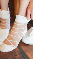 Mesh Socks with Criss Cross Accent
