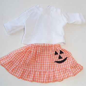 """American Girl Bitty Baby Clothes 15"""" Doll Clothes Girl 1 Orange Gingham Jack o lantern Ruffled Skirt and White Long Sleeve T shirt"""