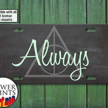 Always Harry Potter Inspired Deathly Hallows Symbol Accessory For Front License Plate Car Tag One Size Fits All Vehicle Custom