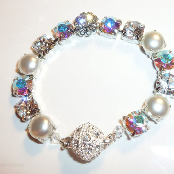 swarovski crystal and pearl tennis bracelet-bridal-better than Sabika-pearl bracelet-GREAT DEAL