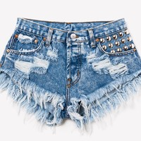 450 Acid Studded Babe Shorts