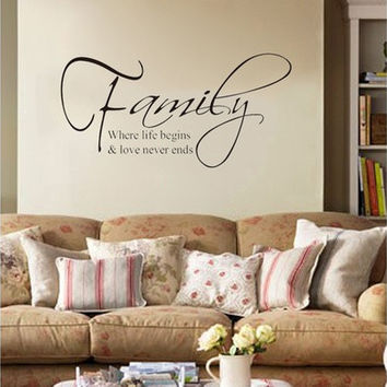 """Family Where Life Begins Love"" DIY Art Wall Stickers Quote Decal Home Decor Mural (Size: 60cm by 22.5cm, Color: Black) [8045600711]"