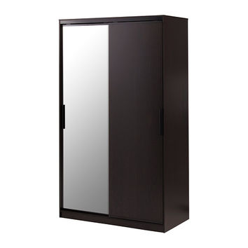 MORVIK Wardrobe - black-brown/mirror glass  - IKEA
